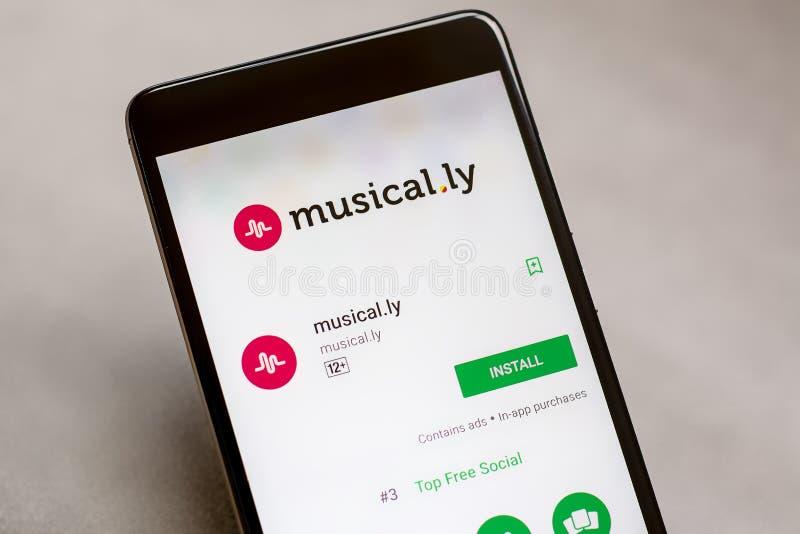 музыкально ly app на магазине игры Google стоковая фотография