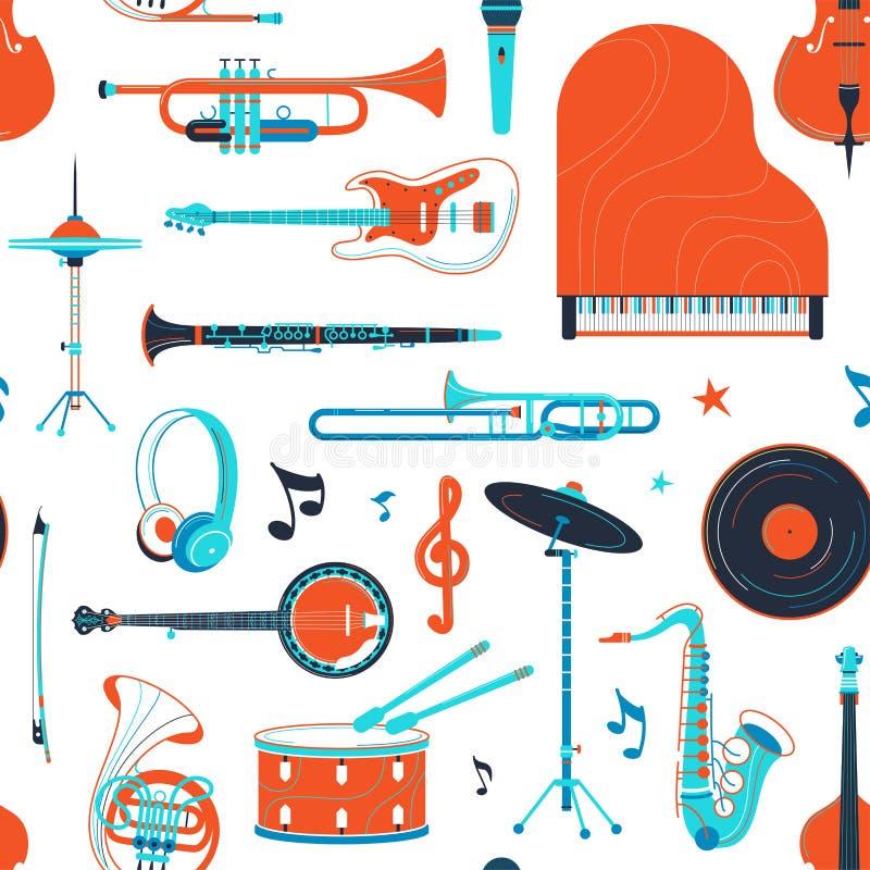 Музыкальные инструменты, картина ретро вектора оборудования плоская безшовная бесплатная иллюстрация