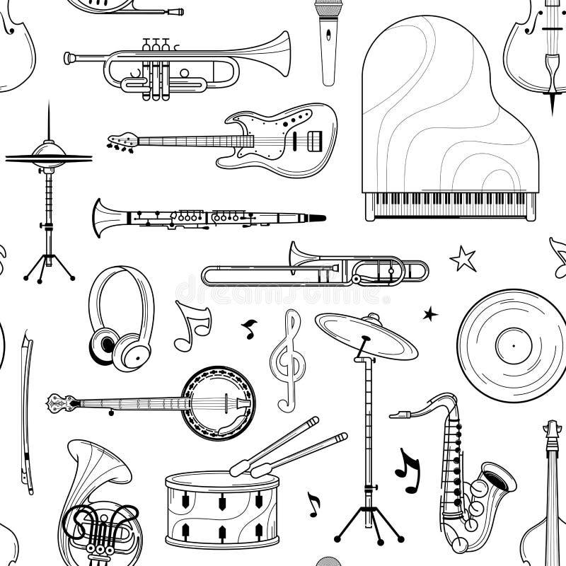 Музыкальные инструменты, нарисованные вручную, контурная картина бесплатная иллюстрация