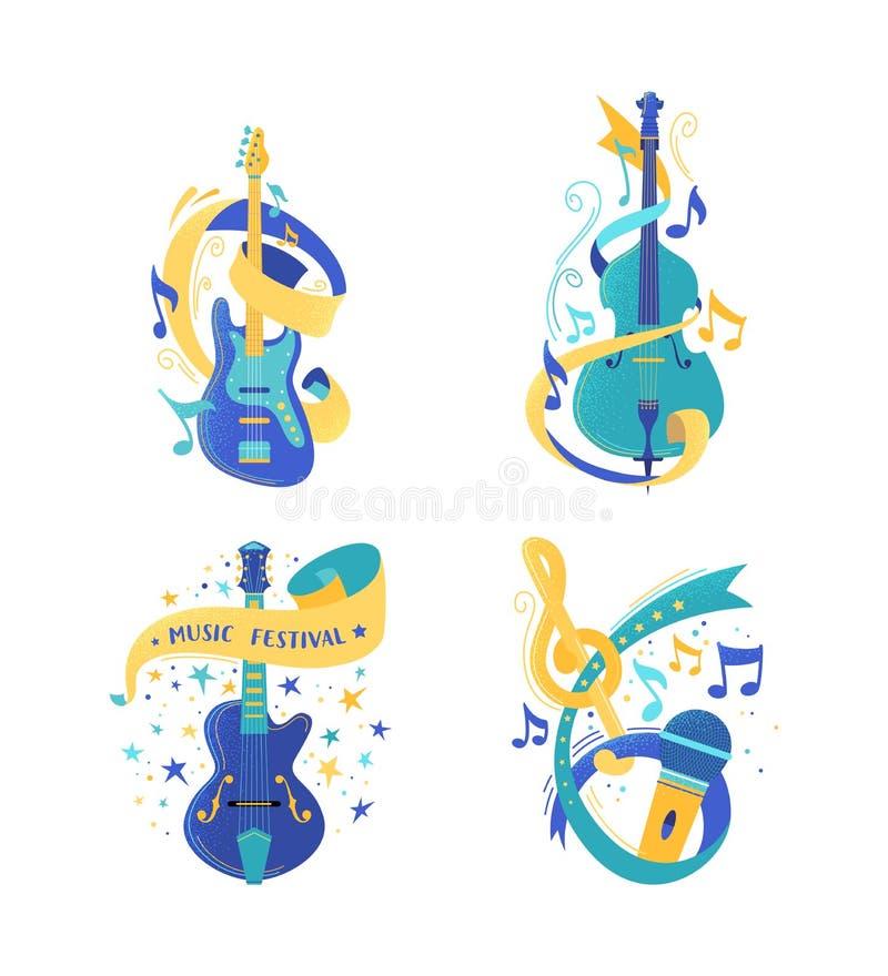 Музыкальные инструменты строки и набор иллюстраций микрофона бесплатная иллюстрация