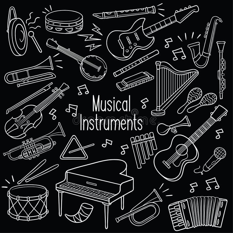 Музыкальные инструменты Doodle в доске бесплатная иллюстрация