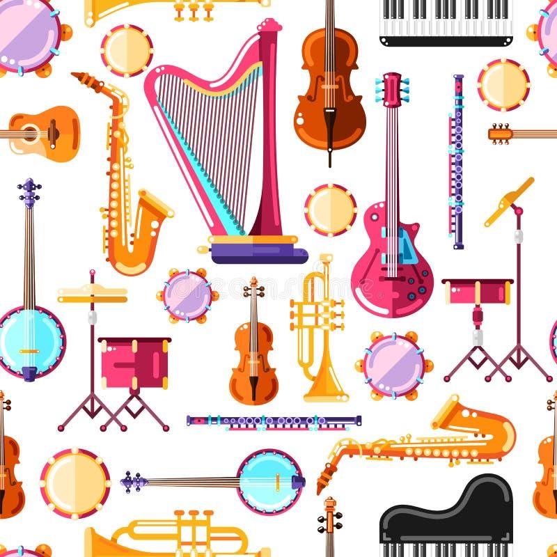 Музыкальные инструменты vector безшовная картина Красочный дизайн предпосылки для печати ткани иллюстрация вектора
