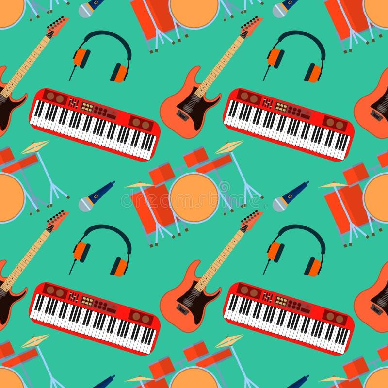 Музыкальные инструменты vector безшовная картина Синтезатор гитары, барабанчик, микрофон, наушники для диапазона Плоский дизайн бесплатная иллюстрация