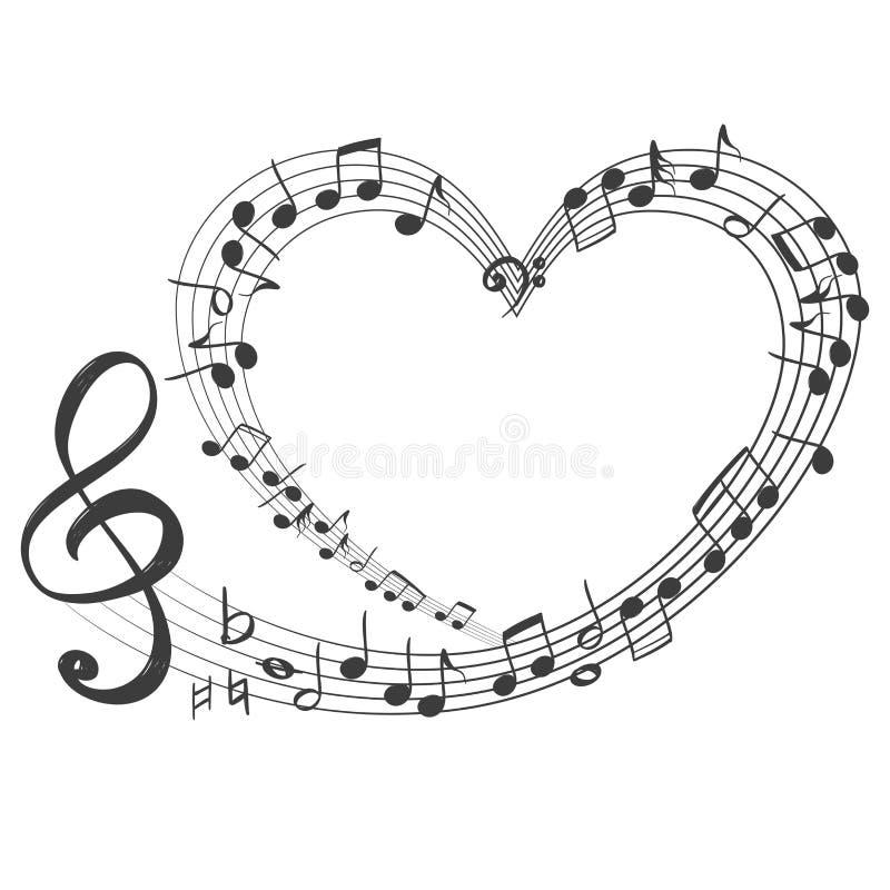 Музыкальные примечания в форме значка сердца, музыка влюбленности, рука нарисованный эскиз иллюстрации вектора иллюстрация штока
