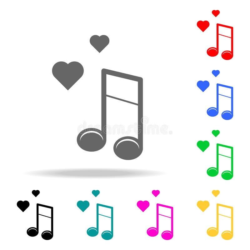 музыкальные примечания с значком сердца Элементы романс в multi покрашенных значках Наградной качественный значок графического ди иллюстрация вектора
