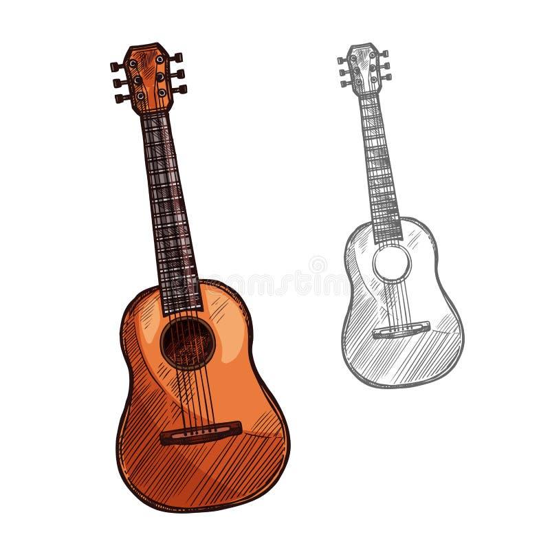 Музыкальный инструмент акустической гитары эскиза вектора иллюстрация вектора