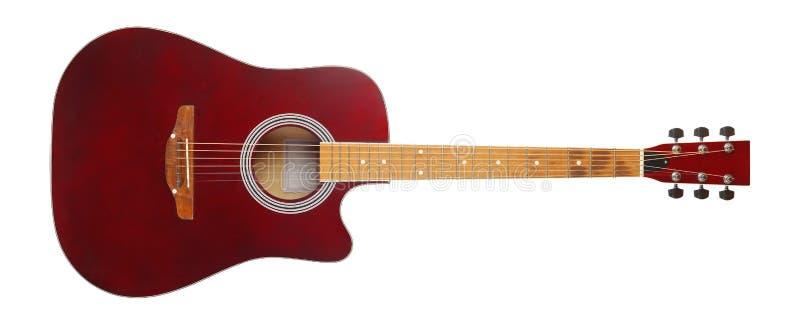 Музыкальный инструмент - гитара коричневого цвета вида спереди cutaway акустическая o стоковые изображения rf