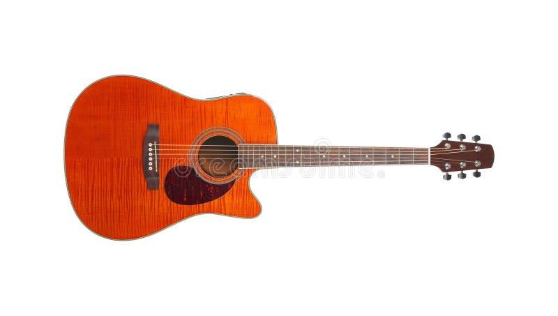 Музыкальный инструмент - гитара оранжевого cutaway клена пламени акустическая стоковое изображение