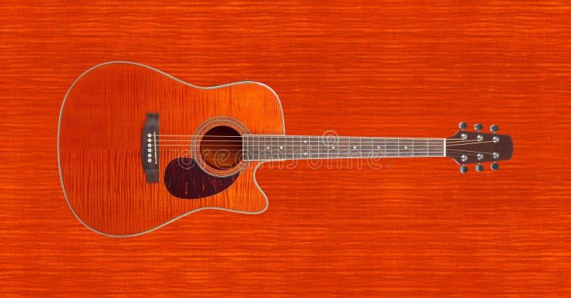 Музыкальный инструмент - гитара оранжевого cutaway клена пламени акустическая стоковые фотографии rf