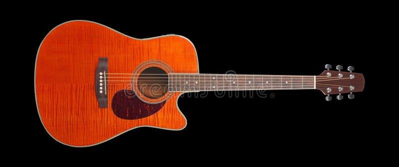 Музыкальный инструмент - гитара cutaway клена пламени акустическая стоковое фото rf