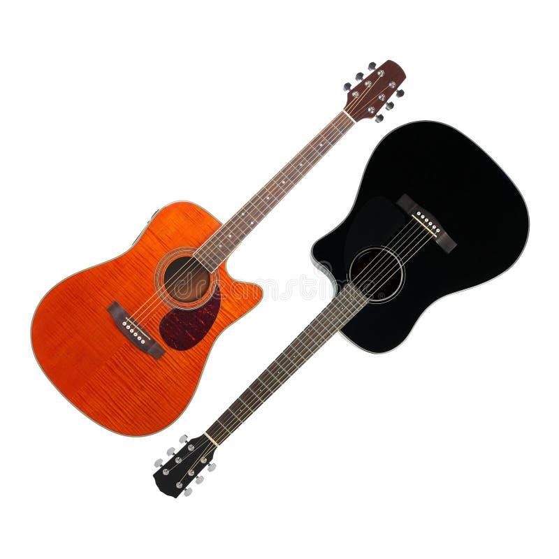 Музыкальный инструмент - гитара cutaway черноты и апельсина акустическая стоковые фотографии rf