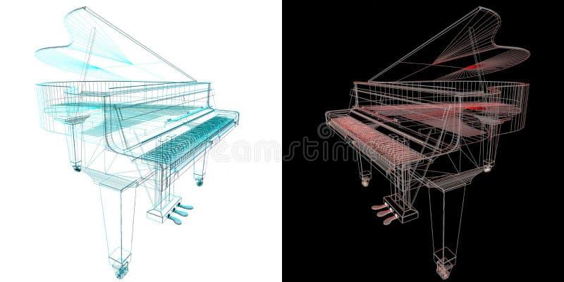 Музыкальный инструмент клавиатуры Стилизованный рояль Музыкальное emble иллюстрация вектора