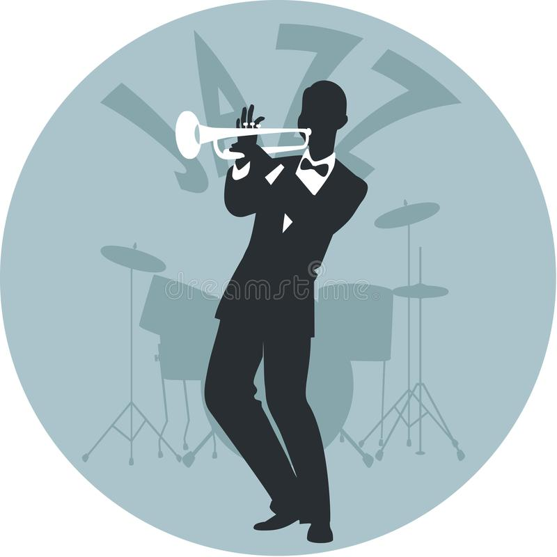 Музыкальный стиль джаз Силуэт трубача и барабанчиков на заднем плане иллюстрация вектора