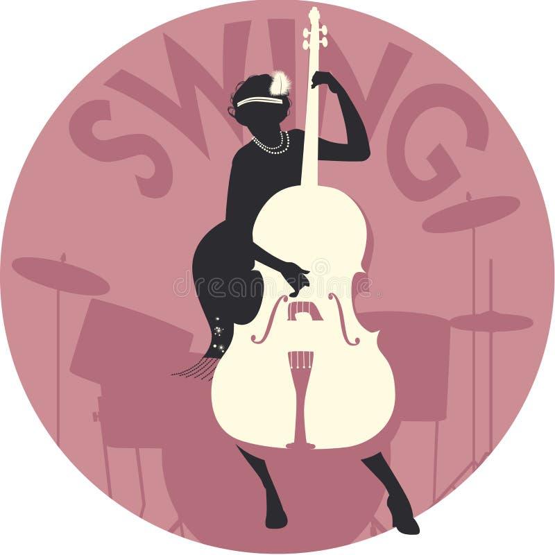 Музыкальный стиль качание Силуэт девушки язычка играя двойного баса и барабанчиков на заднем плане иллюстрация вектора