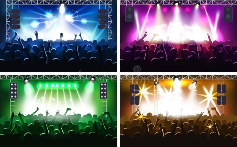 Музыкальный фестиваль или концерт течь сцена этапа с силуэтом рук партии иллюстрации вектора fanzone светов человеческим иллюстрация вектора