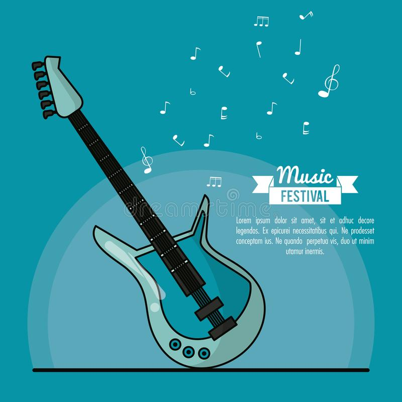 Музыкальный фестиваль плаката в голубой предпосылке с электрической гитарой иллюстрация штока