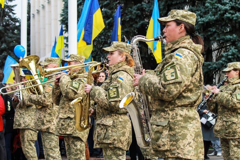 Музыканты военного отдела украинской игры армии на параде в городе Днепр Вооруженные силы страны Украины стоковые изображения rf