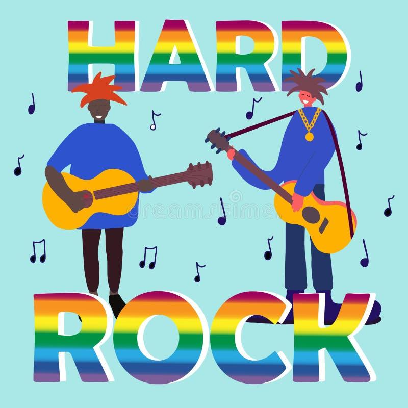 Музыканты диапазона тяжелого рока Концерт музыки Современный звук Оформление, литерность тяжелого рока, группа в составе музыкант иллюстрация штока