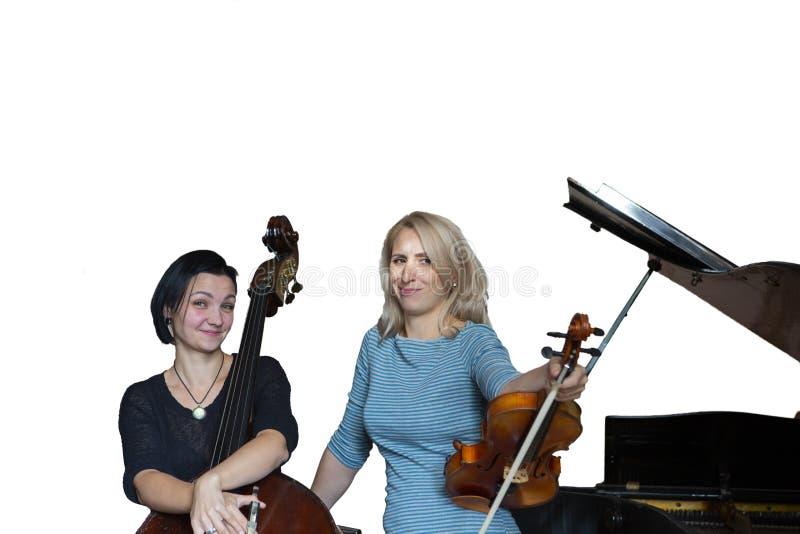 Музыканты играют скрипку и contrabass изолированное изображение на белой предпосылке стоковые фотографии rf
