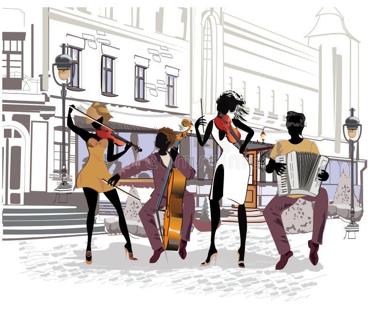 Музыканты улицы в городе Джаз-бэнд иллюстрация штока