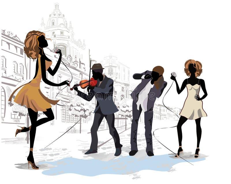 Музыканты улицы в городе иллюстрация вектора