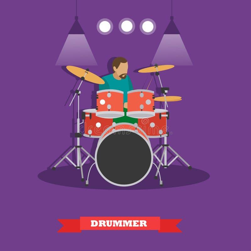 Музыкант барабанщика играя барабанчики Иллюстрация вектора в плоском дизайне стиля иллюстрация вектора