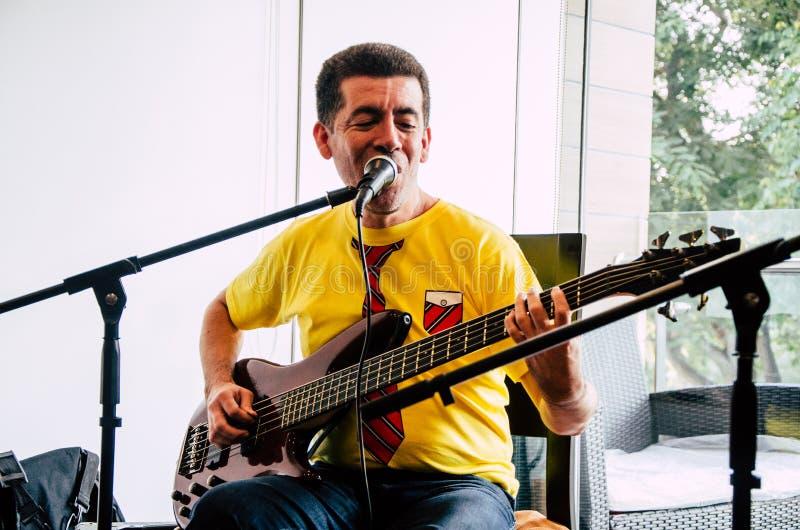 музыкант гитары красивый играя детенышей стоковое изображение rf