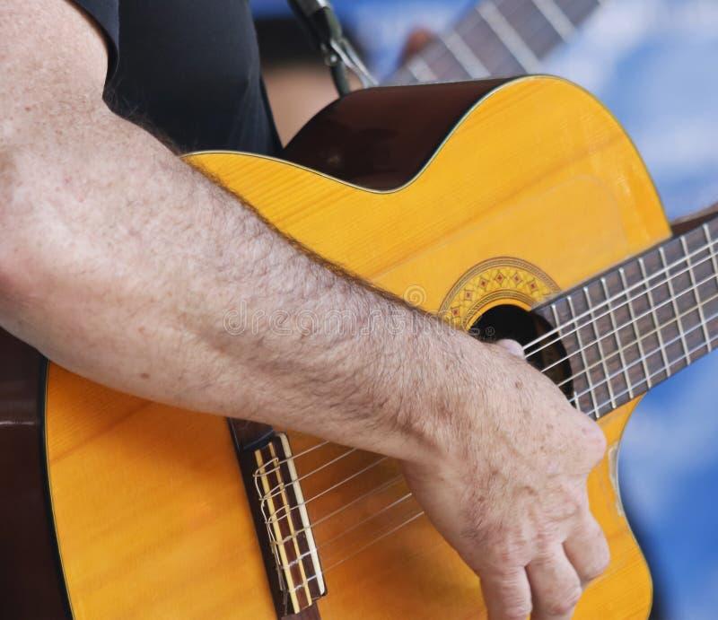 Музыкант играет классическую гитару Cutaway стоковые фото