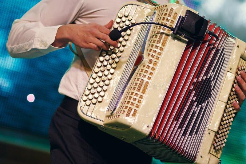 Музыкант играя аккордеон стоковые фотографии rf