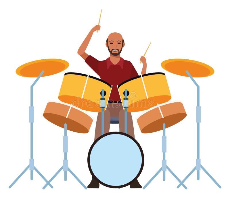 Музыкант играя барабанчики иллюстрация вектора
