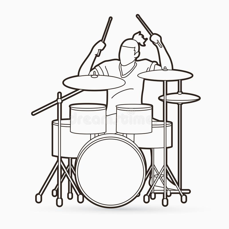 Музыкант играя барабанчик, вектор музыки барабанщика бесплатная иллюстрация