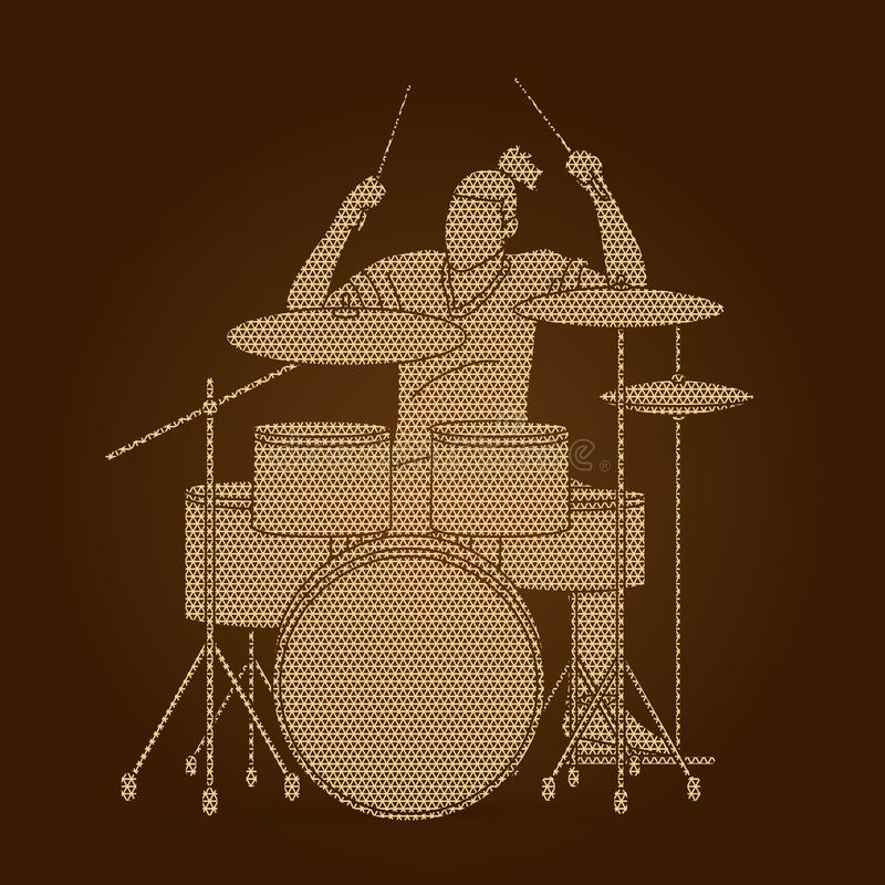 Музыкант играя барабанчик, диапазон музыки иллюстрация вектора