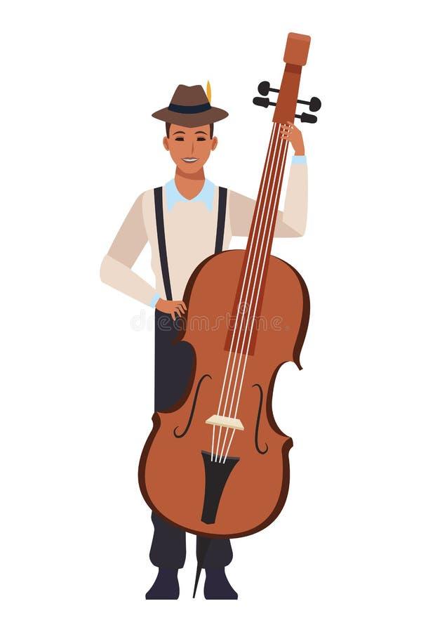 Музыкант играя баса бесплатная иллюстрация