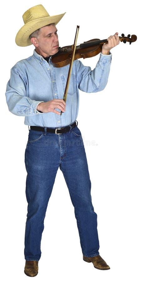 Музыкант музыки кантри играя изолированные скрипку или скрипку стоковые изображения