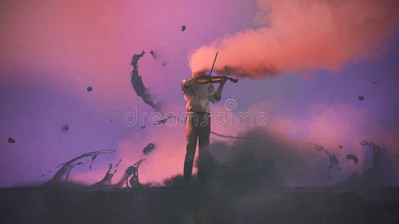 Музыкант тайны играя скрипку иллюстрация штока