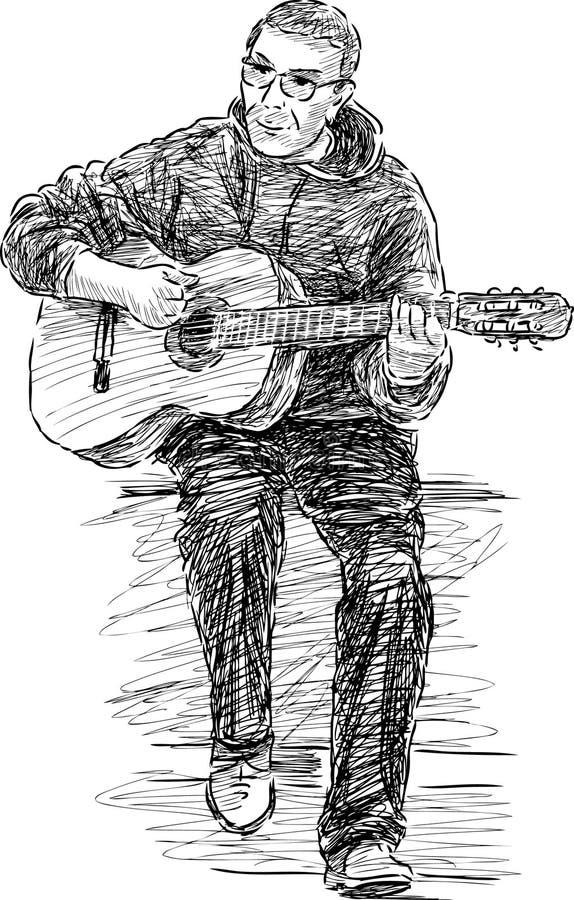 Музыкант улицы иллюстрация штока