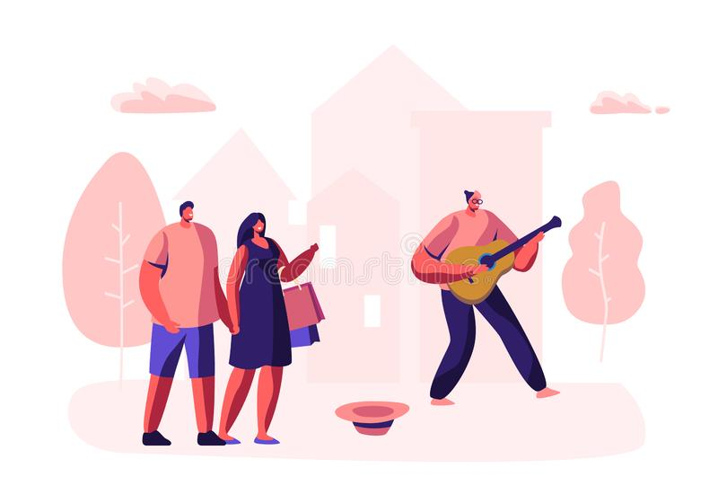 Музыкант хипстера выполняя на открытом воздухе шоу на улице города играя гитару для пешеходов Талантливая мелодия игры человека в иллюстрация штока