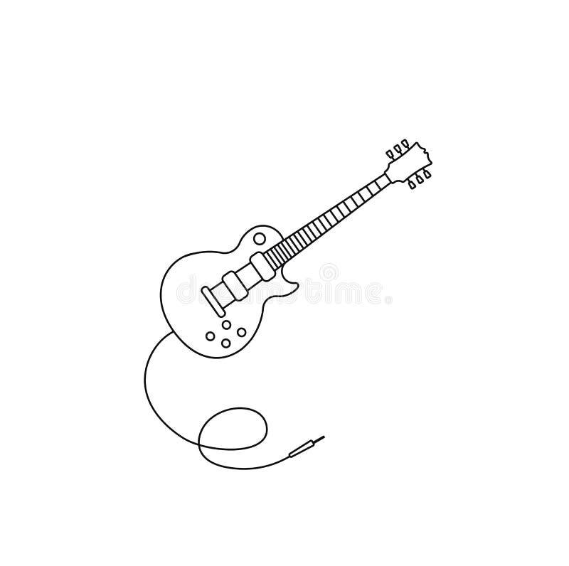 Музыка вектора значка гитары икона электрической гитары Конспектируйте вектор гитары для веб-дизайна изолированного на черной пре бесплатная иллюстрация