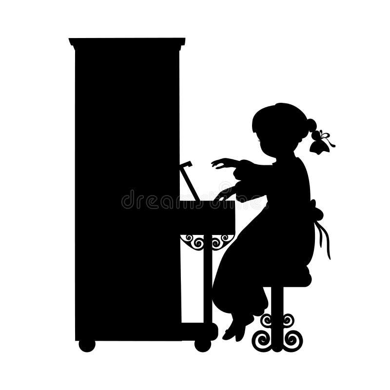 Музыка девушки силуэта играет рояль иллюстрация вектора