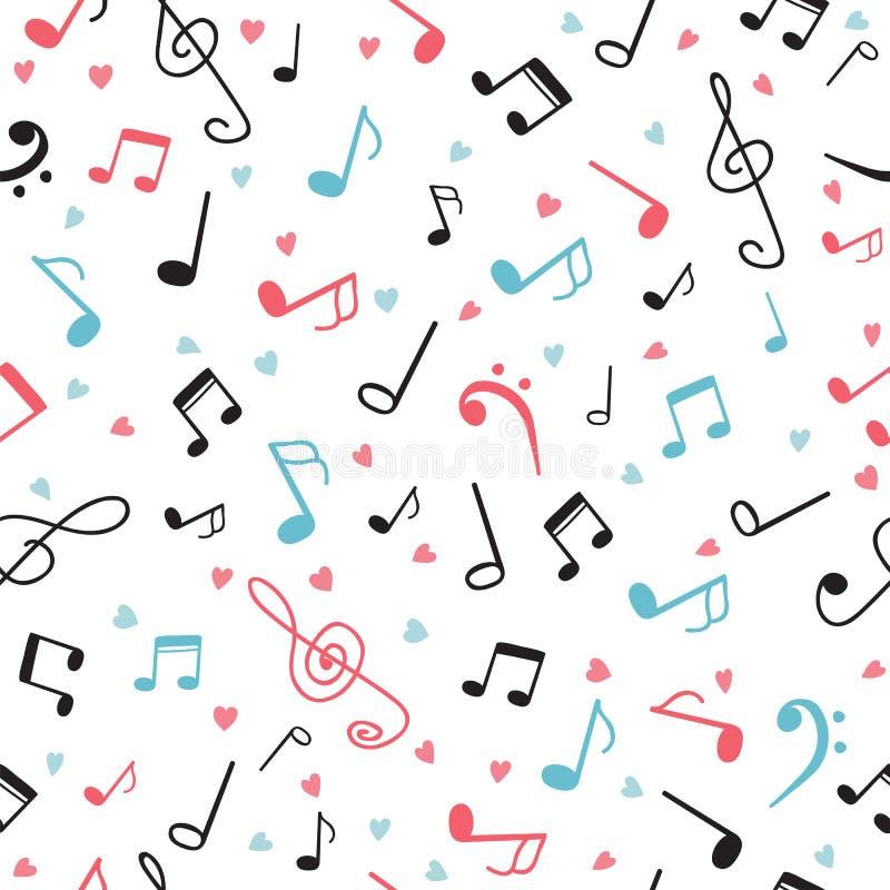 Музыка замечает абстрактную безшовную картину рука нарисованная предпосылкой бесплатная иллюстрация