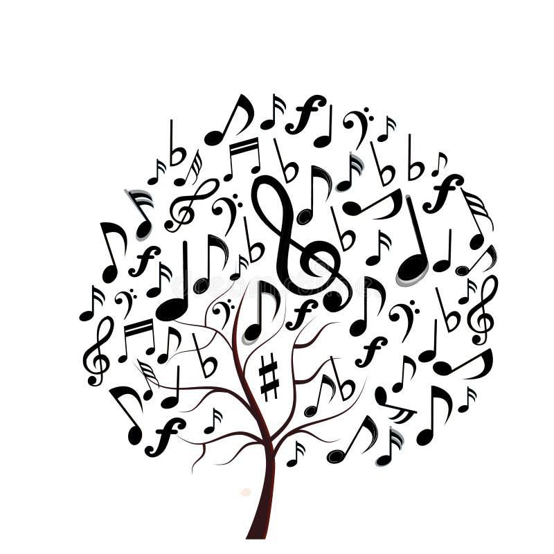 Музыка замечает дерево стоковая фотография