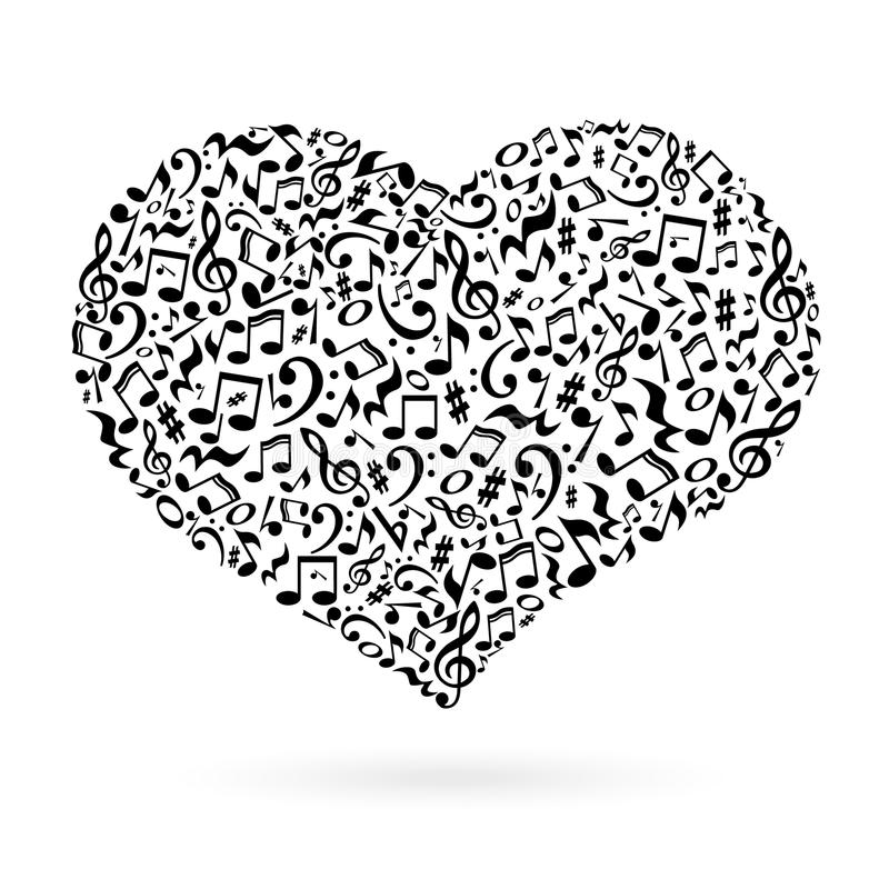 Музыка замечает сердце иллюстрация вектора
