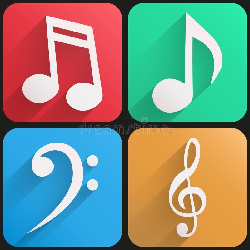 Музыка плоского значка установленная для сети и применения. бесплатная иллюстрация