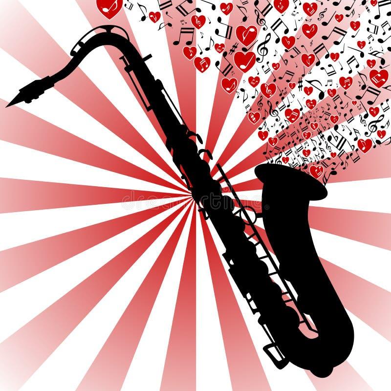 музыка Саксофон-влюбленности иллюстрация штока