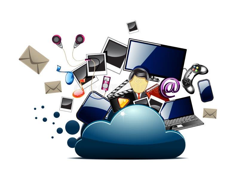 Музыка, фото и видео внутри папки облака иллюстрация вектора