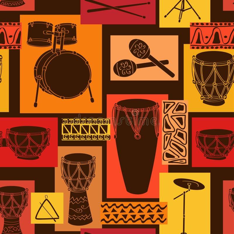 Музыкальная безшовная картина комплекта барабанчика бесплатная иллюстрация