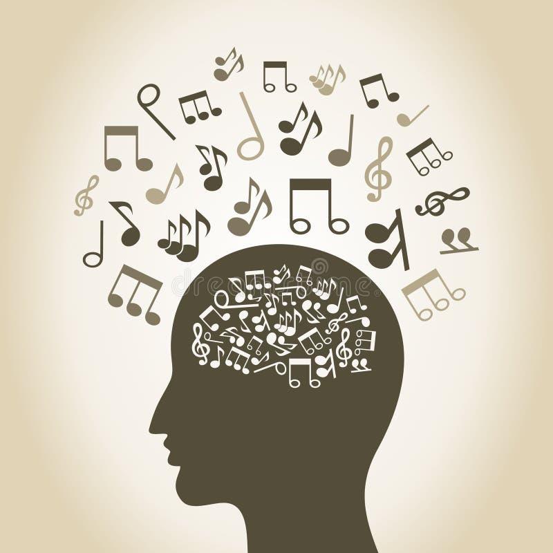 Музыкальная голова иллюстрация вектора
