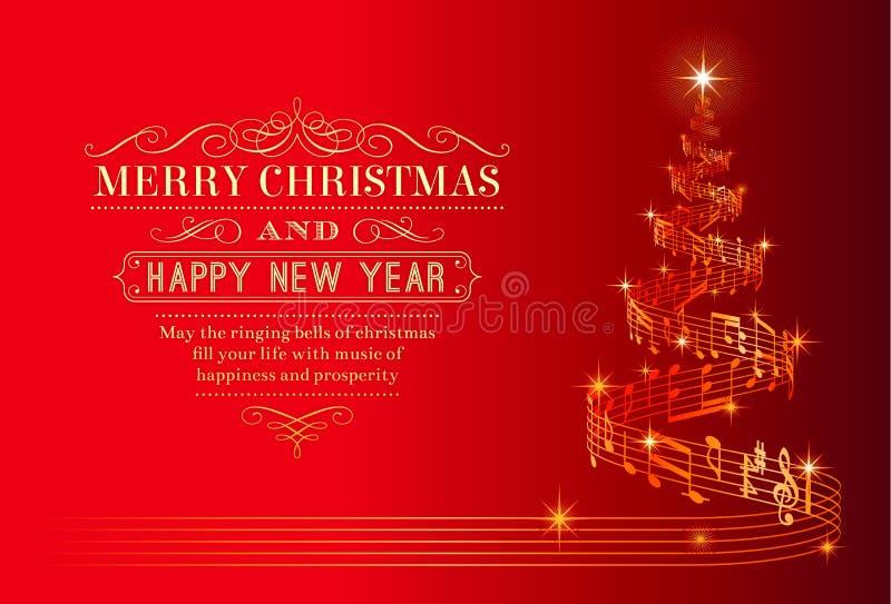 Музыкальная рождественская елка иллюстрация вектора
