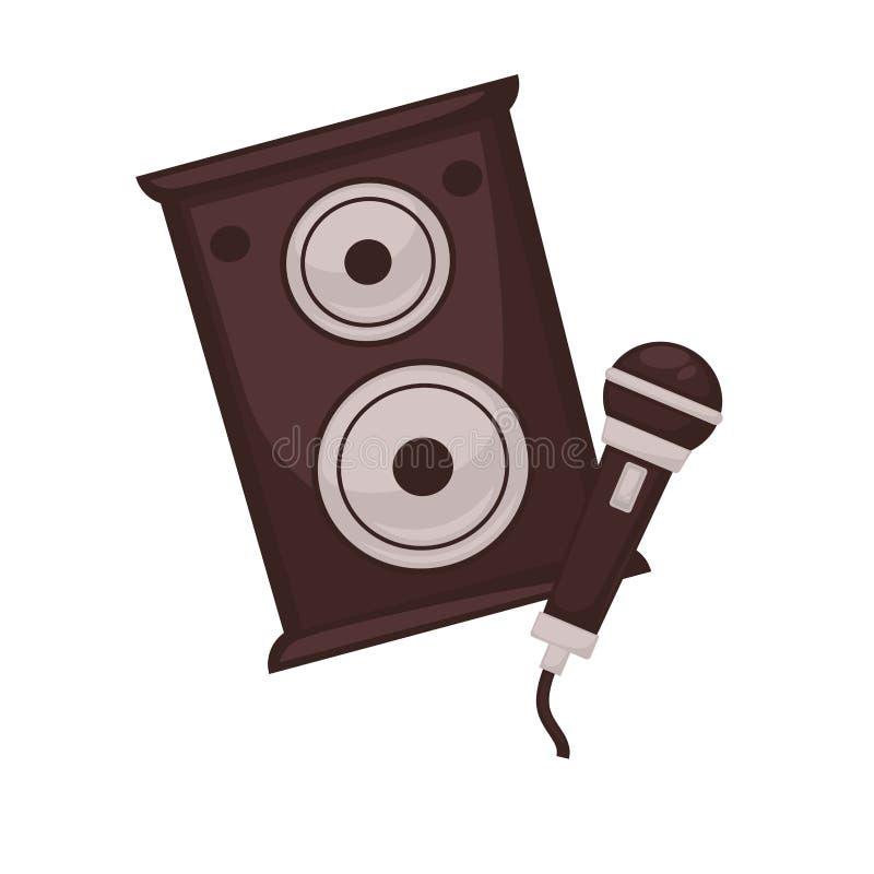 Музыкальные громкоговорители и микрофон изолированные на белой предпосылке бесплатная иллюстрация