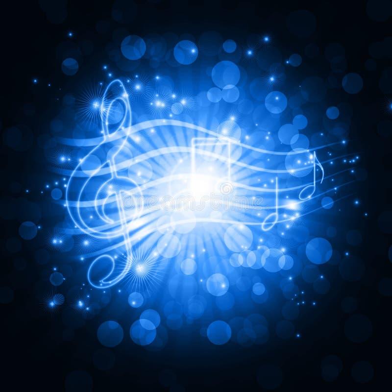 Музыкальные символы с звездами иллюстрация вектора